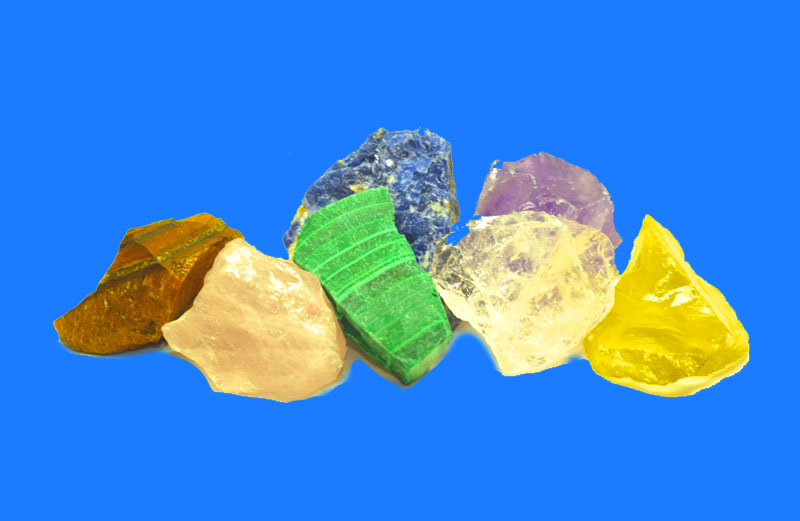 rough raw chakra stones