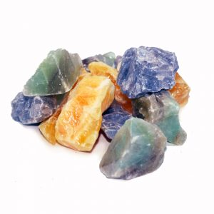 calcite crystals blue orange green