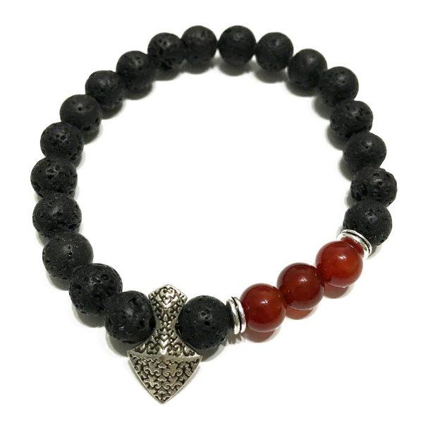 Axe-head Carnelian Lava Stone Bracelet
