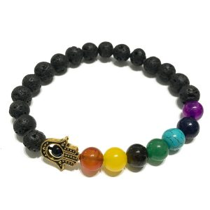 Hamsa Chakra Lava Stone Bracelet