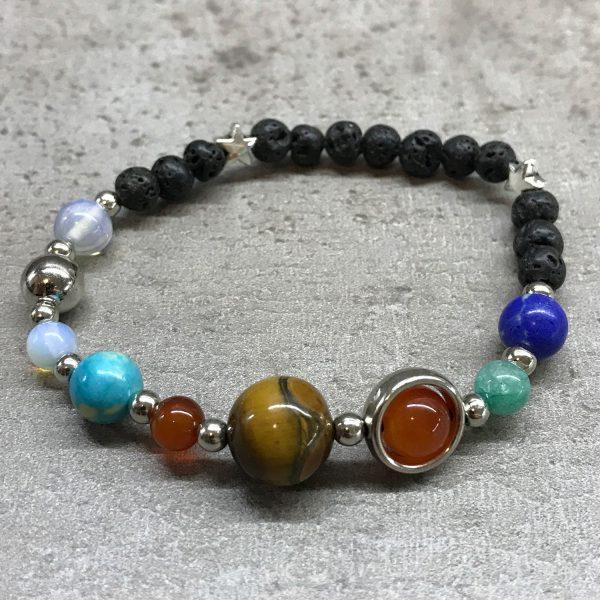 Silver Solar System Lava Stone Bracelet