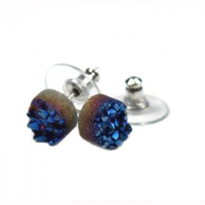Blue Rainbow Druzy Earstud Titanium infused natural quartz crystal 8mm Earstud