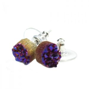 Purple Rainbow Druzy Earstud