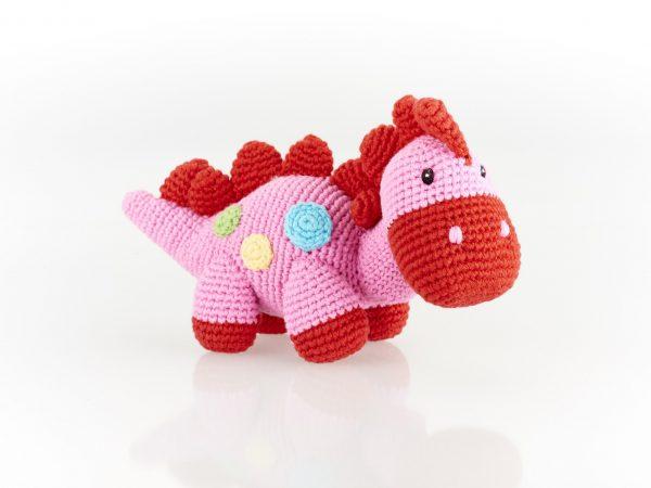 Pink Crochet Stegosaurus Dinosaur Rattle