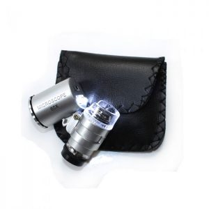 LED pocket microscope 60x LED and UV lamp