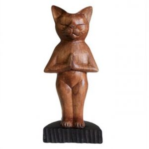 Handcarved Yoga Cats - Standing Position